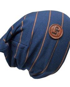 Tuque de Coton Ultra Stylée Bleue à Rayures Caramel - L&P