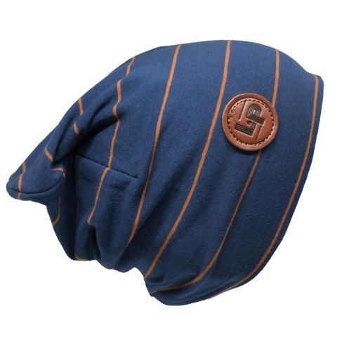 L&P Tuque de Coton Ultra Stylée Bleue à Rayures Caramel - L&P