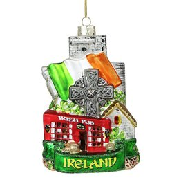 ORNAMENTS IRELAND CITYSCAPE GLASS ORNAMENT