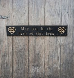 "PLAQUES, SIGNS & POSTERS ""MAY LOVE BE THE HEART OF THIS HOME"" CARVED WOOD SIGN"