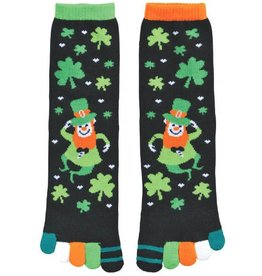 ST PATRICK'S DAY NOVELTY SHAMROCK LEPRECHAUN TOE SOCKS