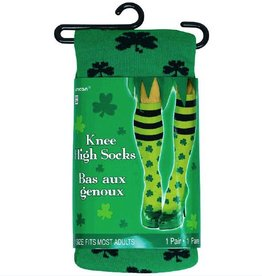 ST PATRICK'S DAY NOVELTY STRIPE SHAMROCK KNEE HIGH SOCKS