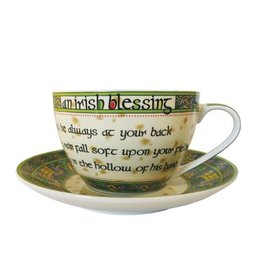 KITCHEN & ACCESSORIES CELTIC WEAVE 'IRISH BLESSING' CUP & SAUCER