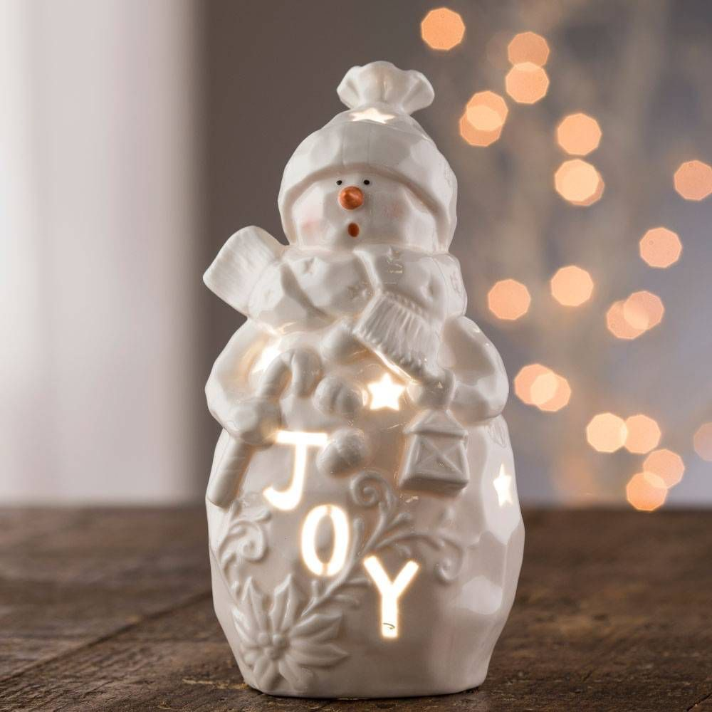"BELLEEK LIVING ""JOY"" SNOWMAN VOTIVE - Irish Crossroads"