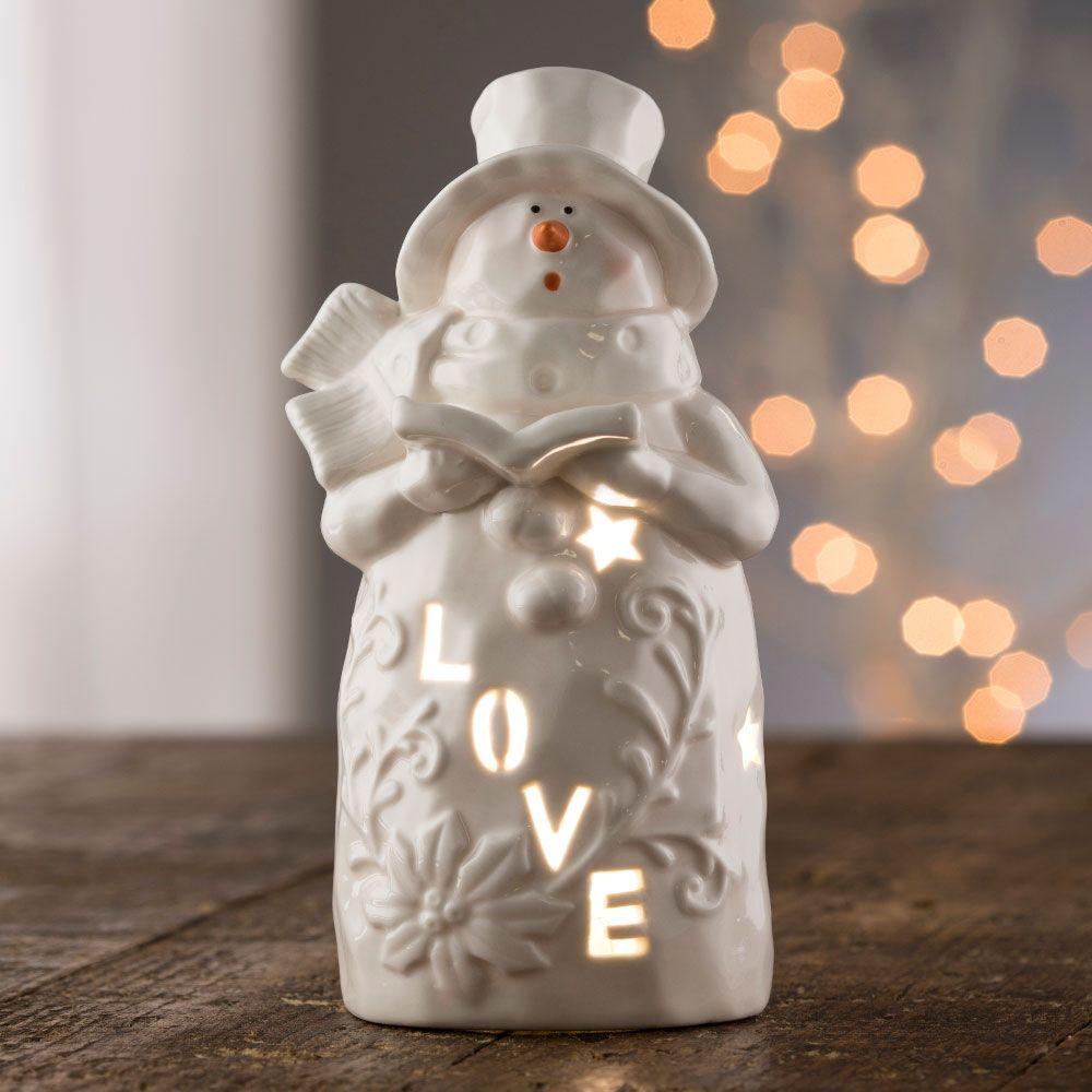 """SNOWMEN BELLEEK LIVING """"LOVE"""" SNOWMAN VOTIVE"""