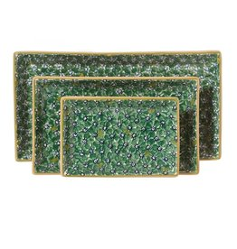 KITCHEN & ACCESSORIES NICHOLAS MOSSE 3 RECTANGLE NESTING DISHES - GREEN LAWN