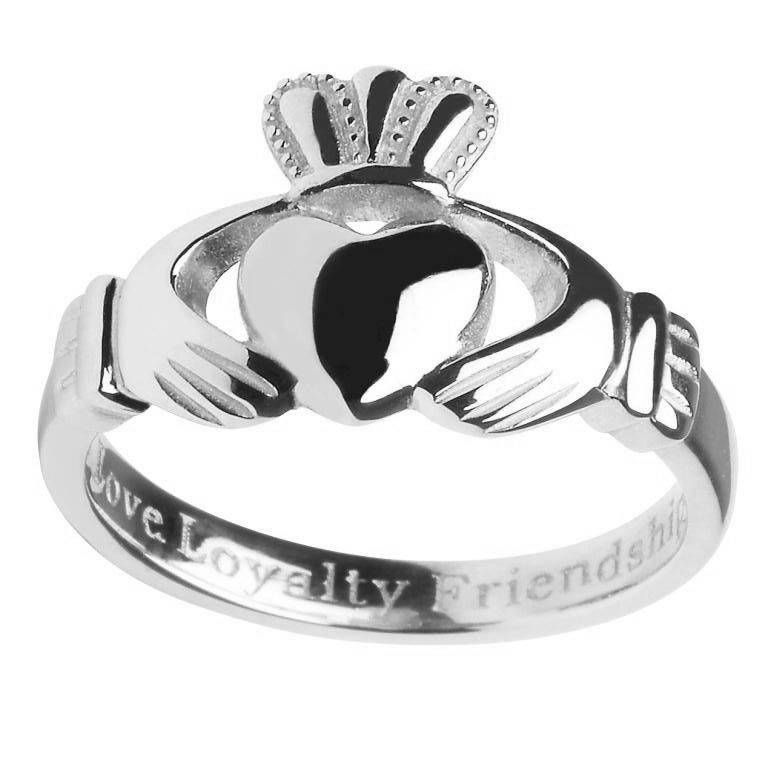RINGS SHANORE STERLING LADIES INSCRIBED CLADDAGH