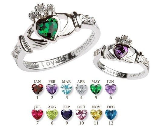 RINGS SHANORE STERLING BIRTHSTONE CLADDAGH RING