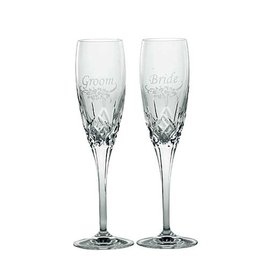 WEDDING FLUTES GALWAY CRYSTAL FLUTES - BRIDE & GROOM