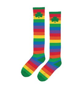 ST PATRICK'S DAY NOVELTY RAINBOW SHAMROCK KNEE SOCKS