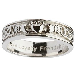 RINGS SHANORE GENTS STERLING CLADDAGH WEDDING RING