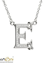 PENDANTS & NECKLACES SHANORE STERLING INITIAL PENDANT with SWAROVSKI CRYSTALS - E