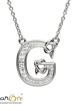 PENDANTS & NECKLACES SHANORE STERLING INITIAL PENDANT with SWAROVSKI CRYSTALS - G