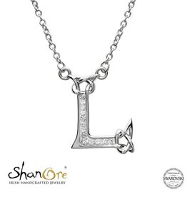 PENDANTS & NECKLACES SHANORE STERLING INITIAL PENDANT with SWAROVSKI CRYSTALS - L