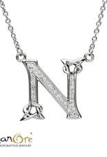 PENDANTS & NECKLACES SHANORE STERLING INITIAL PENDANT with SWAROVSKI CRYSTALS - N