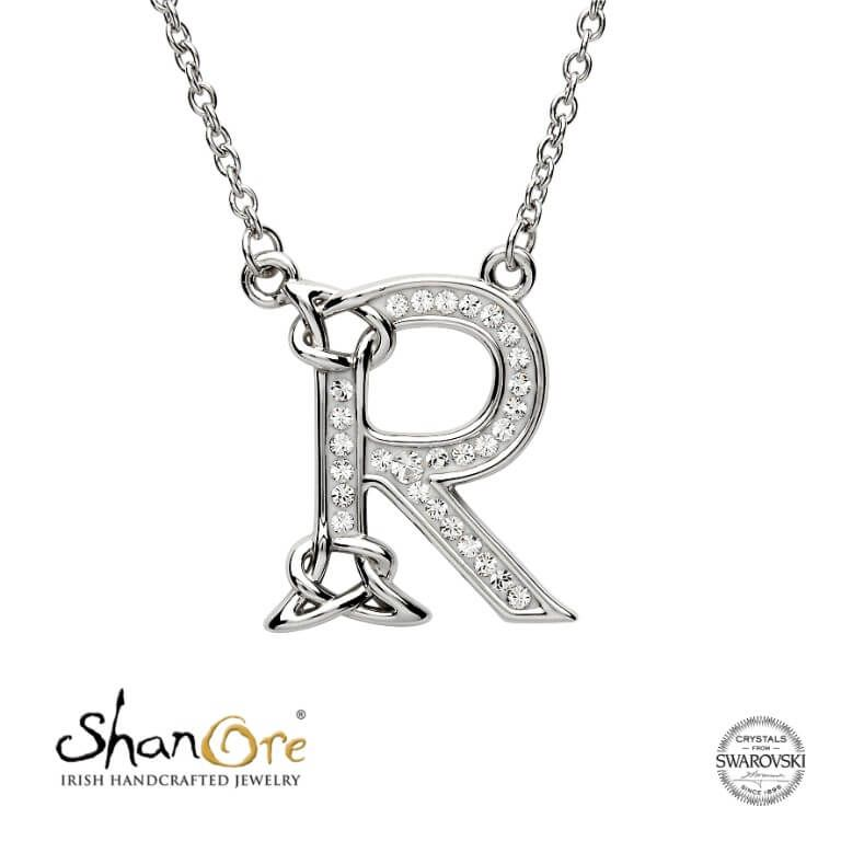 PENDANTS & NECKLACES SHANORE STERLING INITIAL PENDANT with SWAROVSKI CRYSTALS - R