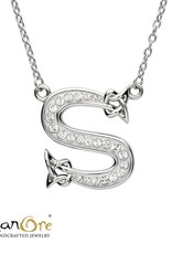 PENDANTS & NECKLACES SHANORE STERLING INITIAL PENDANT with SWAROVSKI CRYSTALS - S