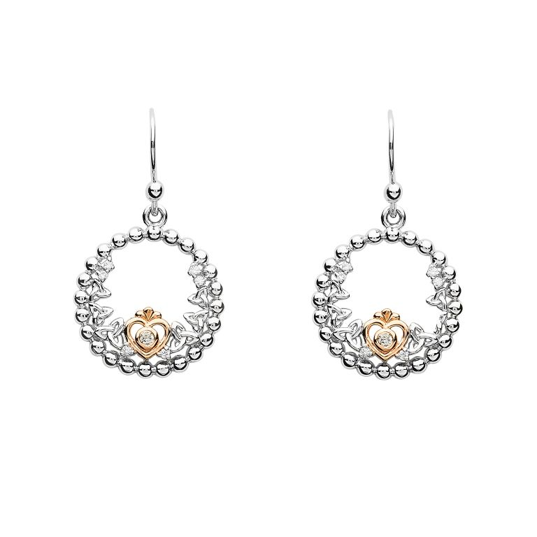 EARRINGS TARA'S DIARY STERLING TRINITY PRINCESS EARRINGS with CZ & ROSE GOLD PLATE