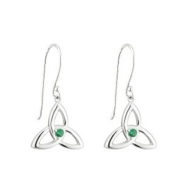 EARRINGS ACARA SILVER LRG TRINITY with STONE DANGLE EARRINGS