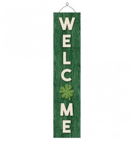 """ST PATRICK'S DAY VERTICAL CLOVER """"WELCOME"""" SIGN"""