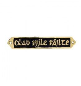 "DECOR ""CEAD MILE FAILTE"" BRASS/BLACK PLAQUE"