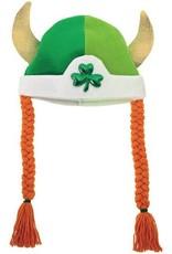 ST PATRICK'S DAY NOVELTY SHAMROCK VIKING HAT with BRAIDS