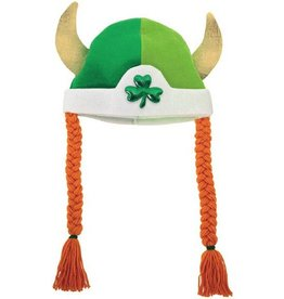 ST PATRICK'S DAY NOVELTY SHAMROCK VIKING HAT with BRAIDS