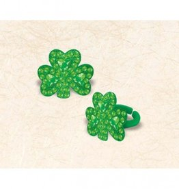 ST PATRICK'S DAY NOVELTY SHAMROCK RING with GEMSTONE