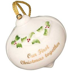 ORNAMENTS 'OUR FIRST CHRISTMAS' BAUBLE BELLEEK ORNAMENT