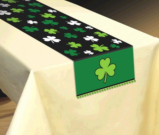 ST PATRICK'S DAY NOVELTY SHAMROCK TABLE RUNNER