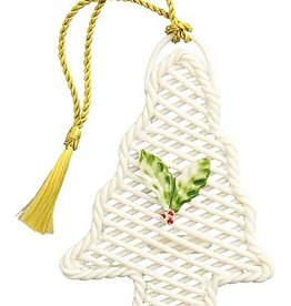 ORNAMENTS BELLEEK BASKET WEAVE CHRISTMAS TREE SHAPED ORNAMENT