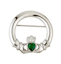 PINS & BROACHES SOLVAR RHODIUM PLATED CLADDAGH BROOCH with GRN STONE