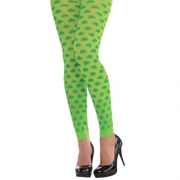 ST PATRICK'S DAY NOVELTY SHAMROCK FOOTLESS TIGHTS