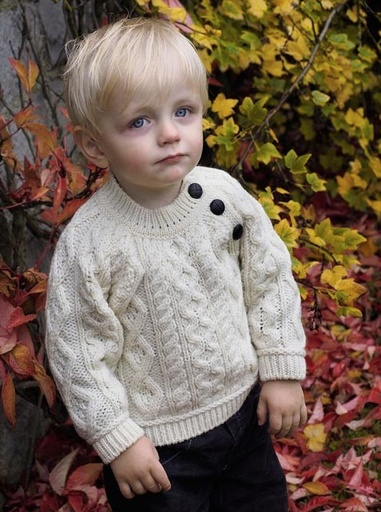 KIDS CLOTHES BABY ARAN BUTTON PULLOVER SWEATER