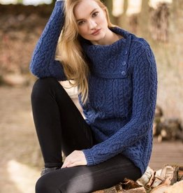SWEATERS LADIES COWL NECK IRISH SWEATER - MARL BLUE