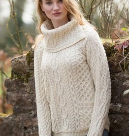 SWEATERS ARAN COWL NECK SWEATER - NATURAL