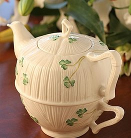 TEAPOTS, MUGS & ACCESSORIES BELLEEK HARP SHAMROCK TEA FOR ONE