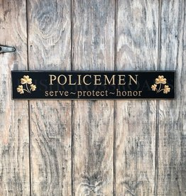 "PLAQUES, SIGNS & POSTERS ""POLICEMEN"" CARVED WOOD SIGN"
