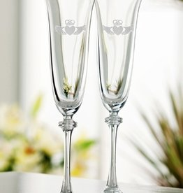 WEDDING FLUTES GALWAY CRYSTAL ETCHED LIBERTY FLUTES (2)