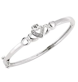 BRACELETS & BANGLES FACET STERLING CLADDAGH BABY BANGLE with CZ HEART