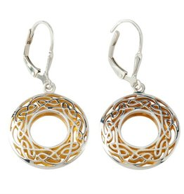 EARRINGS KEITH JACK STERLING & 22K WINDOW TO THE SOUL SML ROUND EARRINGS