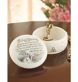 GIFTWARE BELLEEK IRISH BLESSING TRINKET BOX
