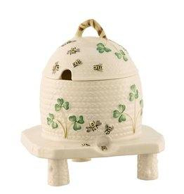 KITCHEN & ACCESSORIES BELLEEK CLASSIC SHAMROCK HONEYPOT ON STAND