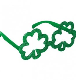 ST PATRICK'S DAY NOVELTY GLITTER SHAMROCK GLASSES