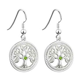 EARRINGS SOLVAR STERLING with STONE TREE OF LIFE ROUND EARRINGS