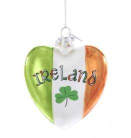 ORNAMENTS IRISH GLASS HEART ORNAMENT
