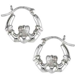 EARRINGS SOLVAR STERLING SML CLADDAGH HOOP EARRINGS