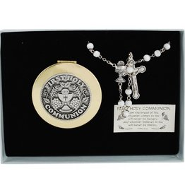 RELIGIOUS GIRLS COMMUNION ROSARY & KEEPSAKE BOX