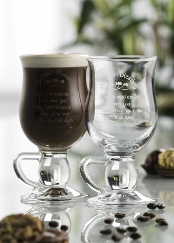 "BARWARE GALWAY CRYSTAL ""IRISH BLESSING"" COFFEE GLASSES (2)"