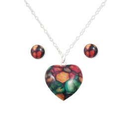 HEATHERGEMS HEATHERGEM STERLING HEART EARRINGS & PENDANT SET